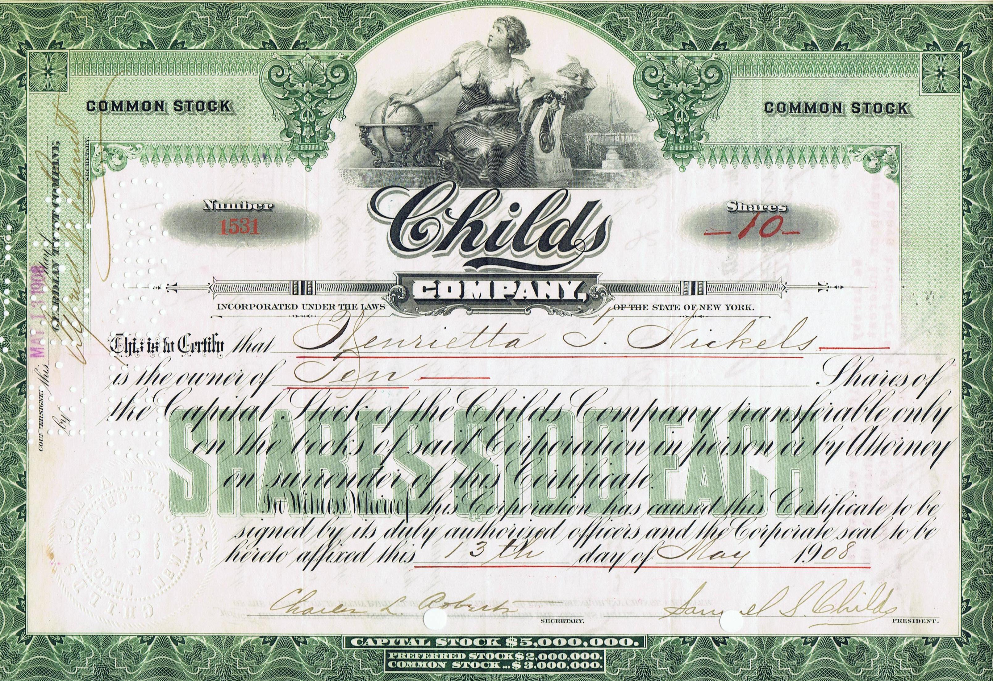 Childs_Company_Stock_Certificate_19081